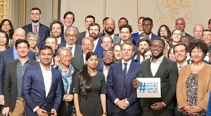 "The President Macron received part of the international researchers and students who participate in the ""Make our planet great again"" program (MOPGA)"